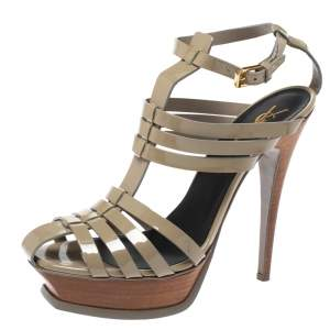 Saint Laurent Paris Grey Patent Leather Tribute Gladiator Platform Sandals Size 39.5