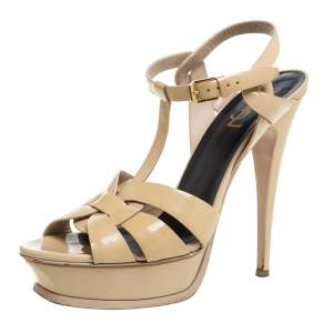 Saint Laurent Paris Beige Patent Leather Tribute Sandals Size 40