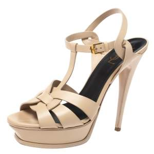 Saint Laurent Light Beige Leather Tribute Platform Sandals Size 41
