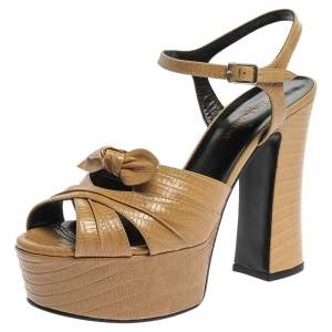 Saint Laurent Beige Lizard Embossed Leather Candy Bow Platform Sandals Size 37