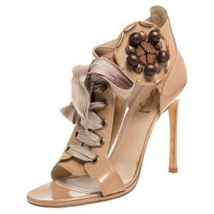 Saint Laurent Beige Patent Leather Embellished Lace Up Booties Size 39