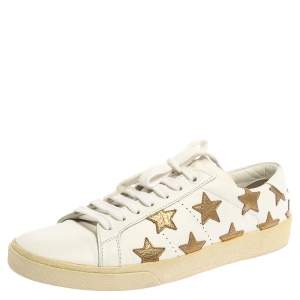 Saint Laurent White/Gold Leather Star Court Classic California Sneakers Size 40