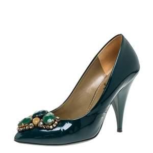 حذاء كعب عالى سان لوران مزخرف حجر جلد لامع أخضر مقاس 37.5