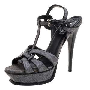 Saint Laurent Paris Grey Tweed Fabric Tribute Sandals Size 38