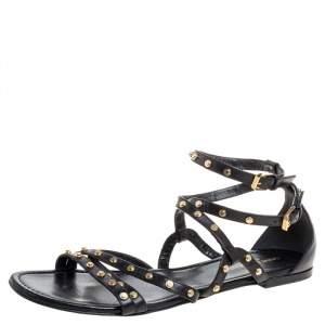 Saint Laurent Black Leather Studded Strappy Flat Sandals 41