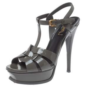 Saint Laurent Paris Grey Patent Leather Tribute Platform Sandals Size 37
