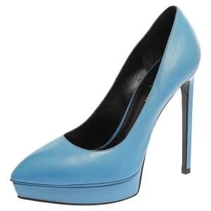 Saint Laurent Paris Blue Leather Pointed Toe Platform Pumps Size 38.5