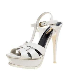 Saint Laurent Paris White Leather Tribute Platform Sandals Size 37.5