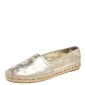 حذاء إسبادريلز سان لوران باريس شعار جلد ذهبي ميتالك مقاس 35.5