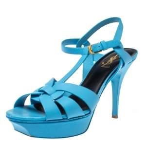 Saint Laurent Paris Light Blue Leather Tribute Ankle Strap Sandals Size 39