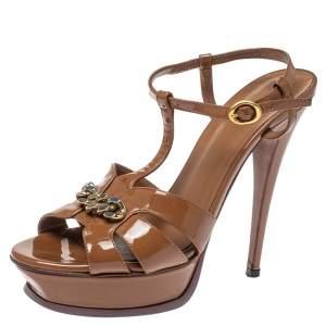 Saint Laurent Paris Brown Patent Leather Tribute Chain Detail Platform Sandals Size 39
