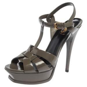 Saint Laurent Paris Olive Green Patent Leather Tribute Ankle Strap Sandals Size 39