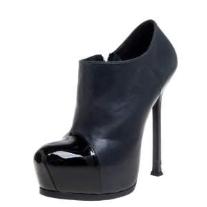Saint Laurent Paris Blue/Black Leather Tribtoo Cap Toe Platform Ankle Booties Size 39