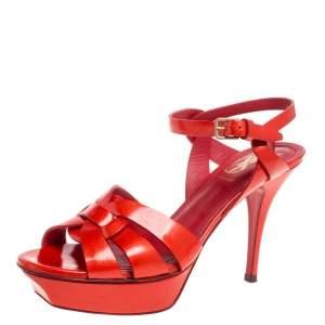Saint Laurent Paris Red Patent Leather Tribute Sandals Size 38.5