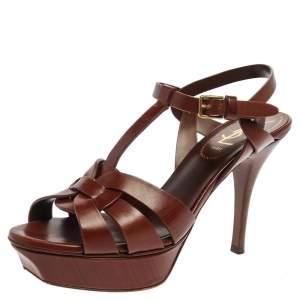 Saint Laurent Paris Brown Leather Tribute Platform Ankle Strap Sandals Size 36
