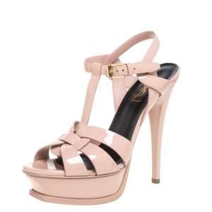 Saint Laurent Light Pink Patent Leather Tribute Platform Sandals Size 36