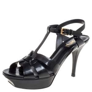 Saint Laurent Paris Black Patent Leather Tribute Sandals Size 38.5