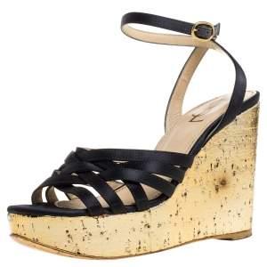 Yves Saint Laurent Paris Dark Grey/Gold Satin Strappy Ankle Strap Wedge Sandals Size 36