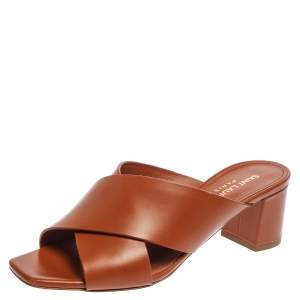 Saint Laurent Paris Brown Leather Loulou Criss Cross Block Heel Sandals Size 36