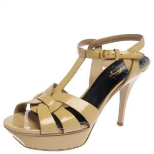 Saint Laurent Beige Paris Patent Leather Tribute Sandals Size 39