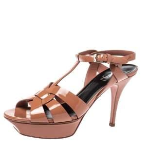 Saint Laurent Paris Brown Patent Leather Tribute Platform Sandals Size 39