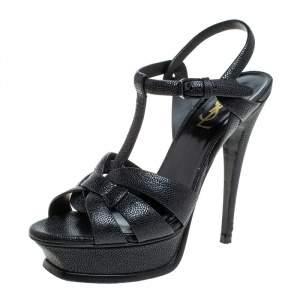 Saint Laurent Black Textured Leather Tribute Platform Ankle Strap Sandals Size 37.5