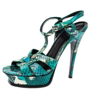 Saint Laurent Paris Green Snakeskin Tribute Platform Sandals Size 38