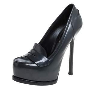 Yves Saint Laurent Grey Leather Tribtoo Penny Loafer Platform Pumps Size 36.5