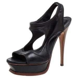 Saint Laurent Paris Black Leather Platform Sandals Size 36