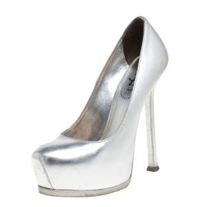 Saint Laurent Silver Leather Tribtoo Platform Pumps Size 35.5
