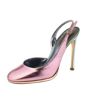 Saint Laurent Metallic Pink/Blue Patent Leather D'Orsay Slingback Pumps Size 38.5