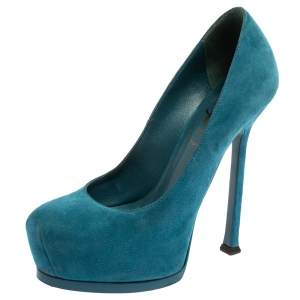 Saint Laurent Paris Blue Suede Tribtoo Platform Pumps Size 35