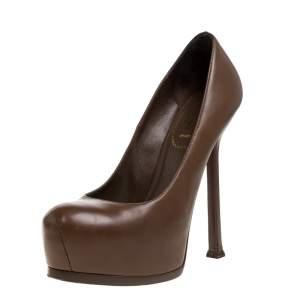 حذاء كعب عالى سان لوران نعل سميك تربيوت جلد بنى مقاس 36