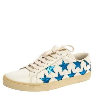 حذاء رياضى سان لوران كاليفورنيا كلاسيك كورت غليتر وجلد أزرق / أبيض مقاس 36