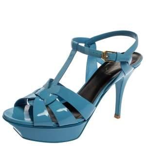Saint Laurent Blue Patent Leather Tribute Ankle Strap Platform Sandals Size 39.5