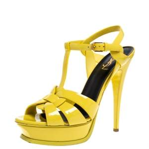 Saint Laurent Paris Yellow Patent Leather Tribute Platform Sandals Size 40