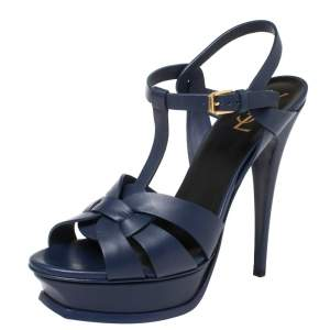 Saint Laurent Blue Leather Tribute Platform Sandals Size 40