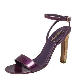 Saint Laurent Purple Textured Patent Leather Cork Heel Ankle Wrap Sandals Size 37.5