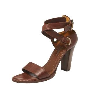 Saint Laurent Paris Brown Leather Ankle Strap Sandals Size 39.5