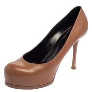 حذاء كعب عالى سان لوران نعل سميك تربيوت جلد بنى مقاس 40
