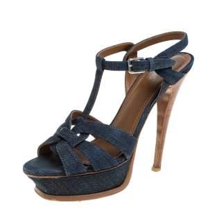 Saint Laurent Navy Blue Denim and Leather Tribute Platform Sandals Size 36.5