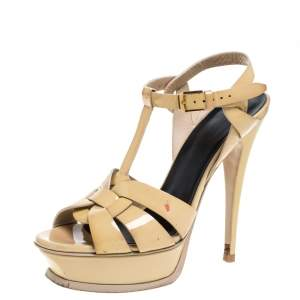 Saint Laurent Paris Beige Patent Leather Tribute Platform Sandals Size 36