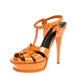 Saint Laurent Orange Patent Leather Tribute Platfrom Sandals Size 37.5
