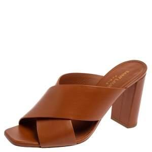 Saint Laurent Brown Leather Lou Lou Cross Strap Mules Size 36.5