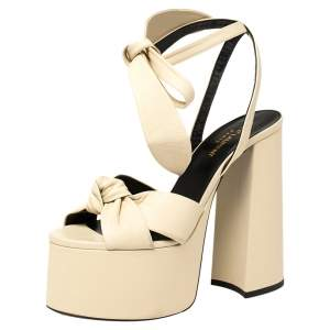 Saint Laurent Cream Leather Bianca Knot Ankle Wrap Platform Sandals Size 38