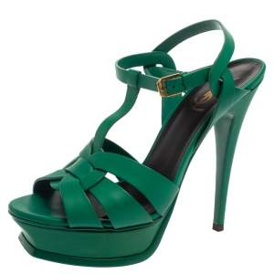 Saint Laurent Green Leather Tribute Platform Sandals Size 39.5