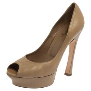 Saint Laurent Paris Beige Leather Peep Toe Platform Pumps Size 40