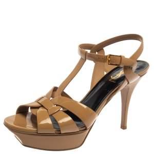 Saint Laurent Beige Patent Leather Tribute Platform Sandals Size 39.5