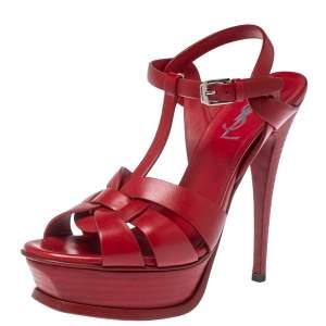 Saint Laurent Paris Red Leather Tribute Ankle Strap Platform Sandals Size 37