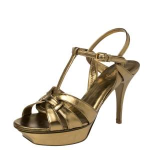 Saint Laurent Metallic Gold  Leather Tribute Platform Sandals Size 40.5